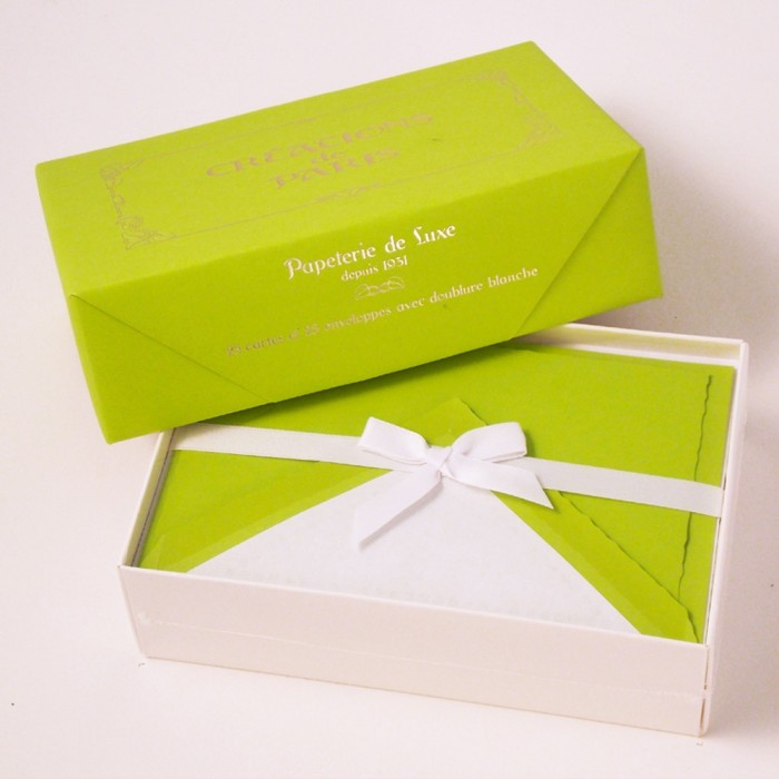 Flat Deckled Edge Cards and Lined Envelopes Lime - CDP 005