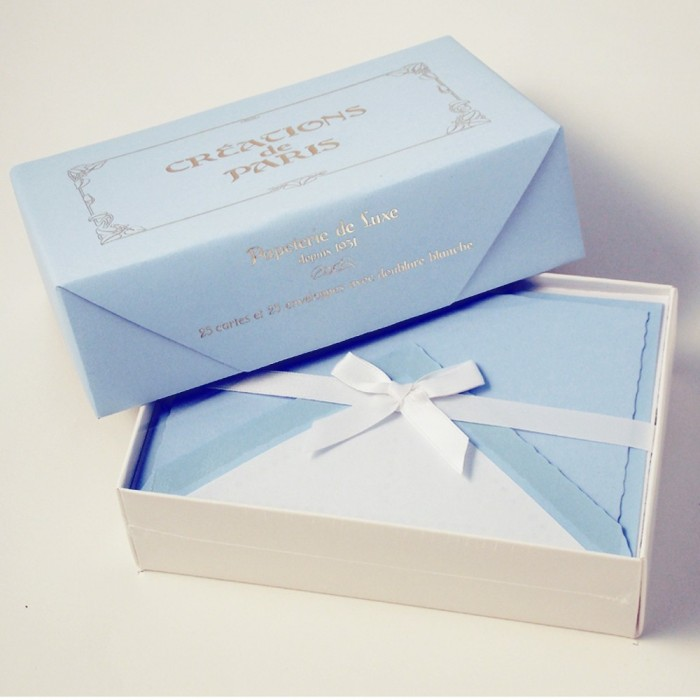 Flat deckled edge cards Azure Blue - CDP 010