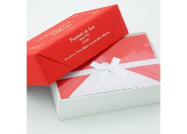 Flat Deckled Edge Cards and Lined Envelopes Bright Red - CDP 015
