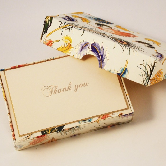 Folded Thank You cards Feathers - BSC 070T
