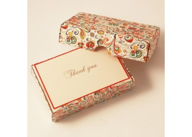 Folded Thank You Cards and Lined envelopes Art-Nouveau Flowers - BSC 103T