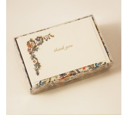 Flat Thank You Cards and Lined Envelopes Birds Florentine Style Collection - FZB 003T