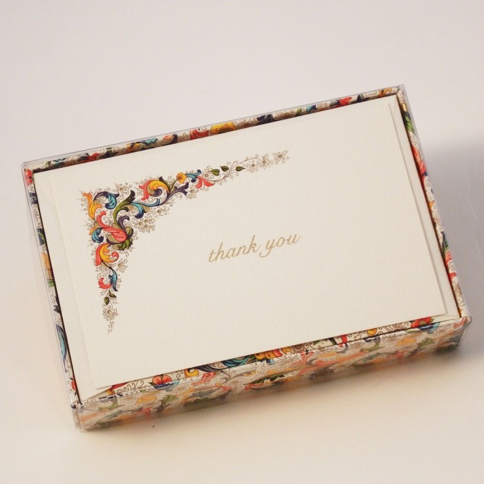 Flat Thank You Cards and Lined Envelopes Traditional Florentine style Collection - FZN 003T