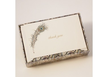 Flat Thank You Cards and Lined Envelopes Peacock Collection - PLM 003T
