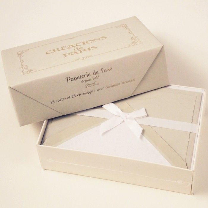Flat deckled edge cards and Lined Envelopes Pearl - CDP 016